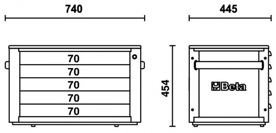 Cassettiera portatile 5 cassetti  beta c23st  dimensione