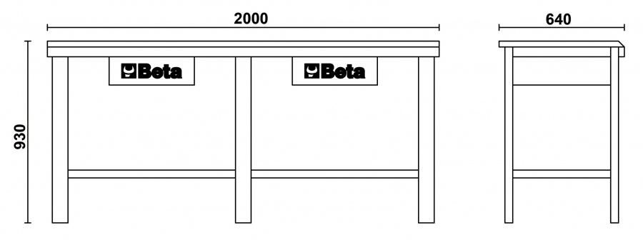Banco da lavoro  beta c56 dimensioni