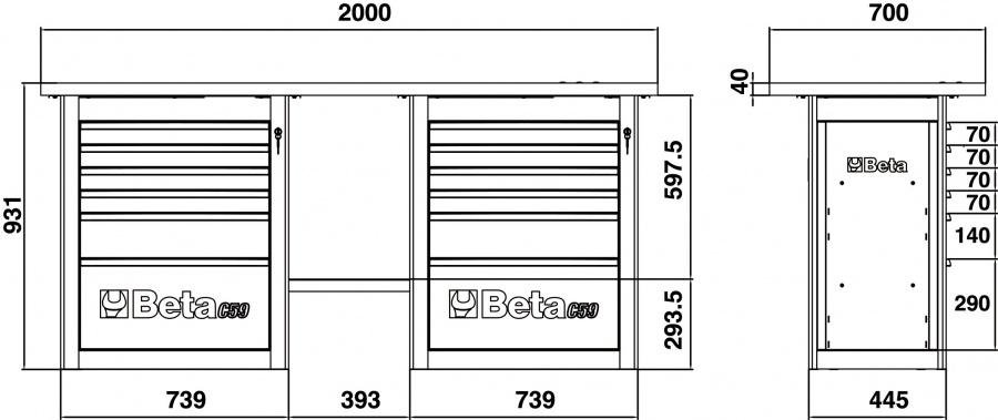 Banco da lavoro endurance  beta c59b dimensioni