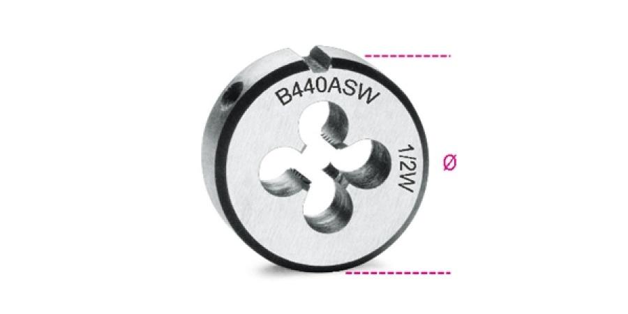 Filiera tonda acciaio cromo 25,4 whitworth beta 440asw - dettaglio 1
