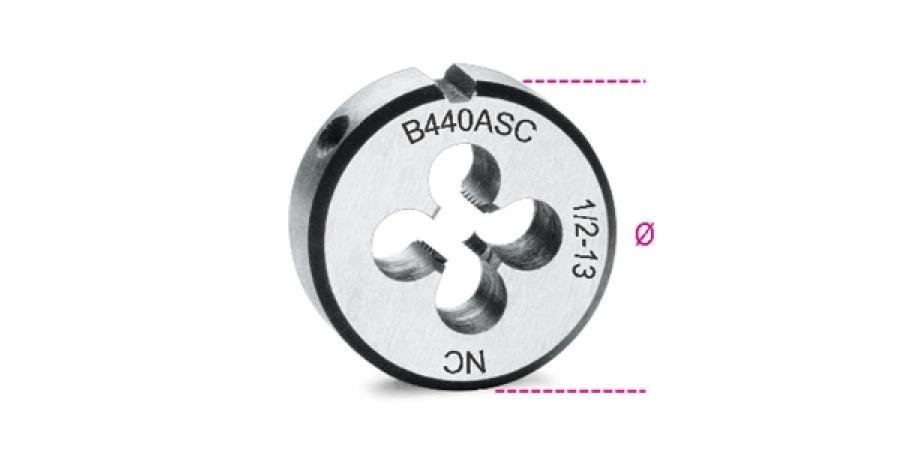 Filiera tonda acciaio cromo 25,4 unc passo grosso beta 440asc - dettaglio 1