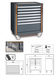 Cassettiera mobile 7 cassetti racing system rsc55 beta c55c7 - dettaglio 1