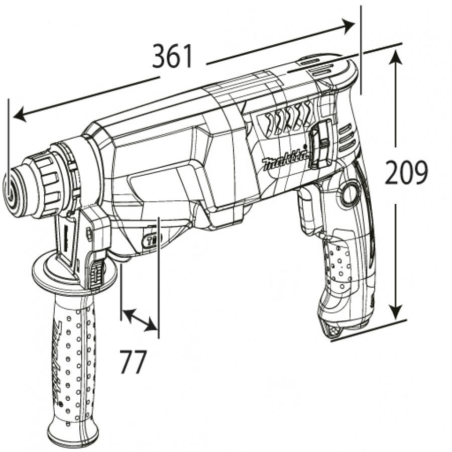 Disegno Trapano Tassellatore 800W Makita HR2601 mm. 26