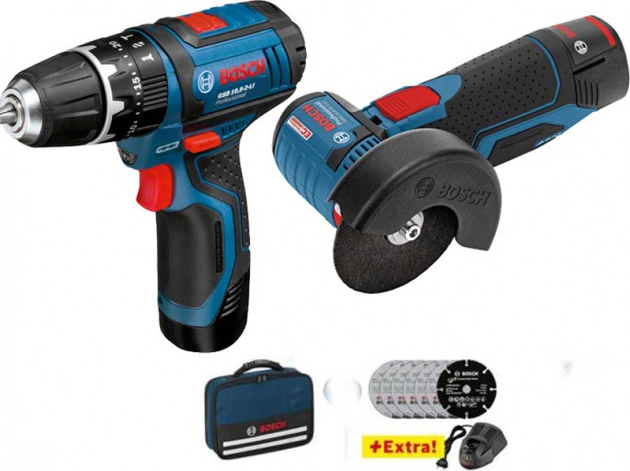 Bosch 0615990H5G Set avviatore + smerigliatrice 12v