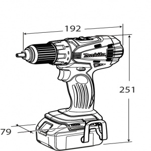 Disegno Trapano avvitatore con frizione Makita BDF456RFE ( DDF456RFJ) 18V 3,0Ah