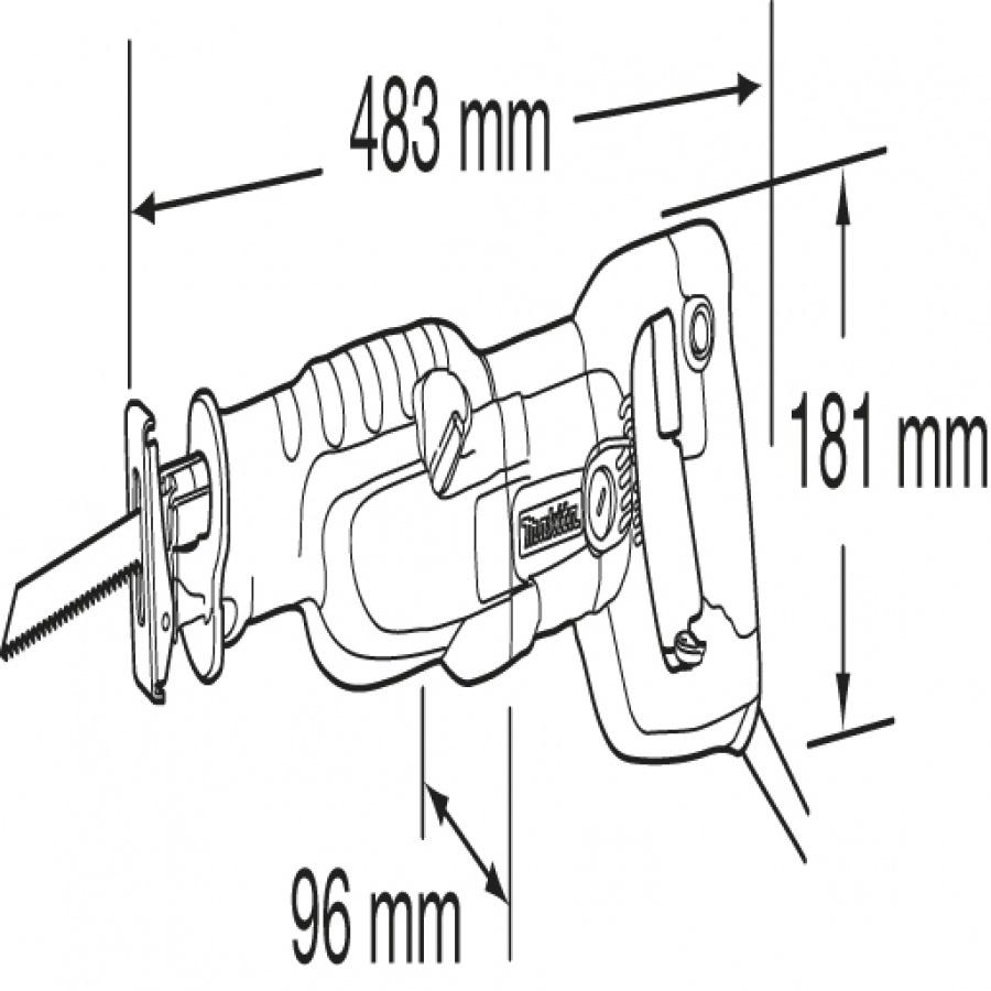 Disegno Seghetto Alternativo Diritto Gattuccio 1250W Makita JR3060T d. mm. 130
