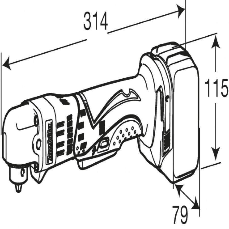 Disegno Trapano avvitatore angolare Makita BDA350RFE 18V 3,0Ah