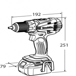 Disegno Trapano Avvitatore c/frizione 2 vel. Makita BDF456Z 18V Solo corpo macchina