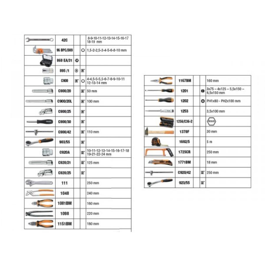Beta 2056E/I Valigetta 146 utensili - dettaglio 2