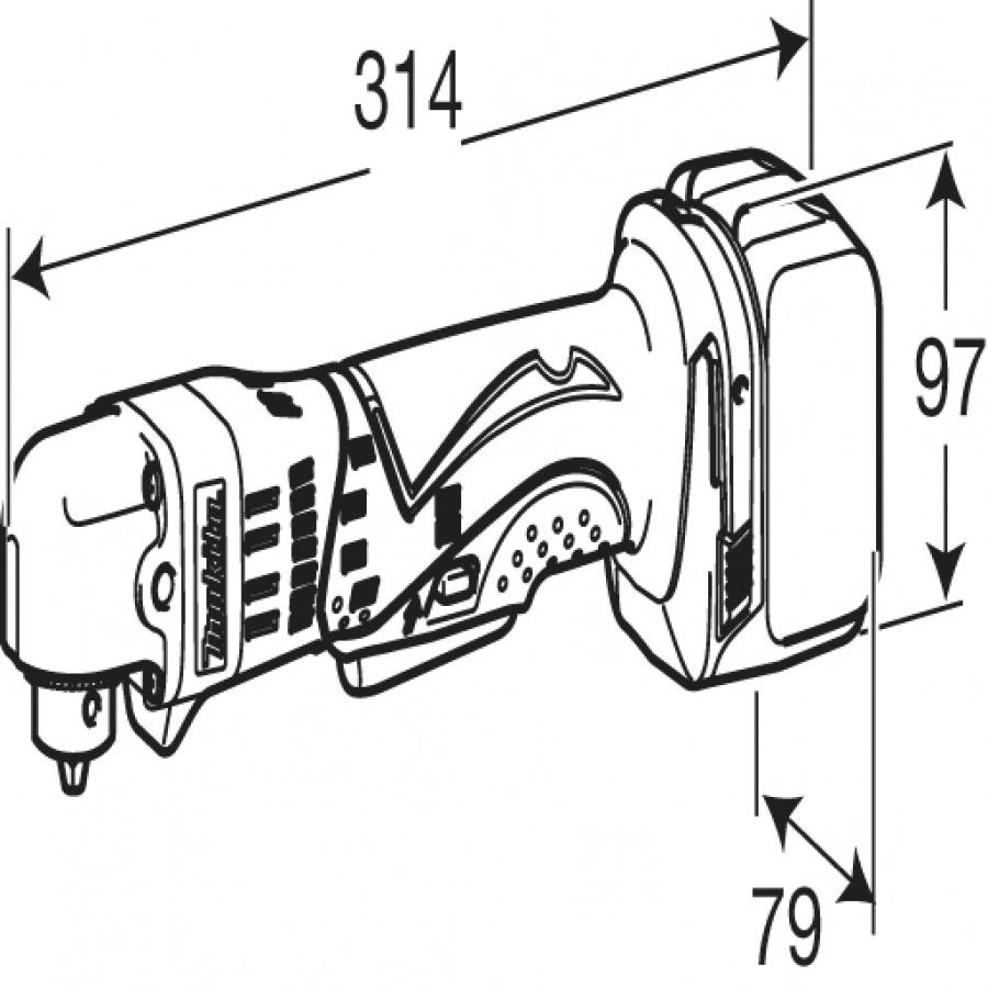 disegno trapano-avvitatore-angolare-makita-bda340z-14-4v-3-0-ah-solo-corpo-macchina