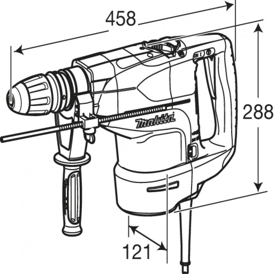 Disegno Martello Demolitore Rotativo 1350W Makita HR4501C mm. 45