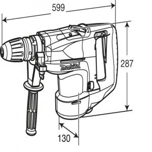 Disegno Martello Demolitore Rotativo 1500W Makita HR5201C mm. 52