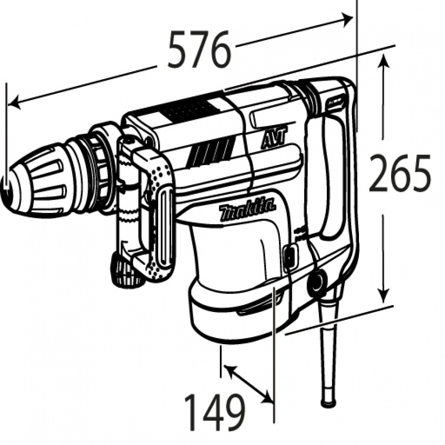 Disegno Demolitore 1510W 18,6J Makita HM1213C kg. 10,8