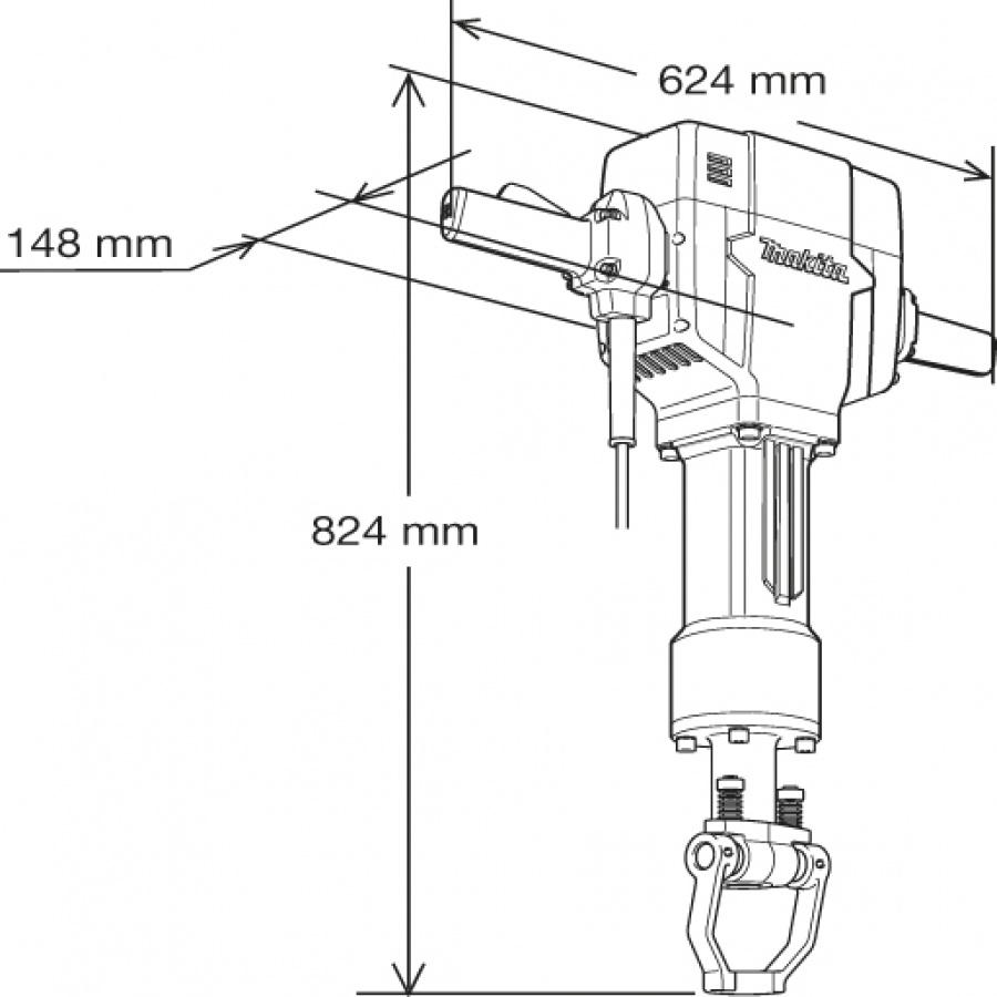 Disegno Demolitore 1900w 44,9J Makita HM1810 kg. 32,3