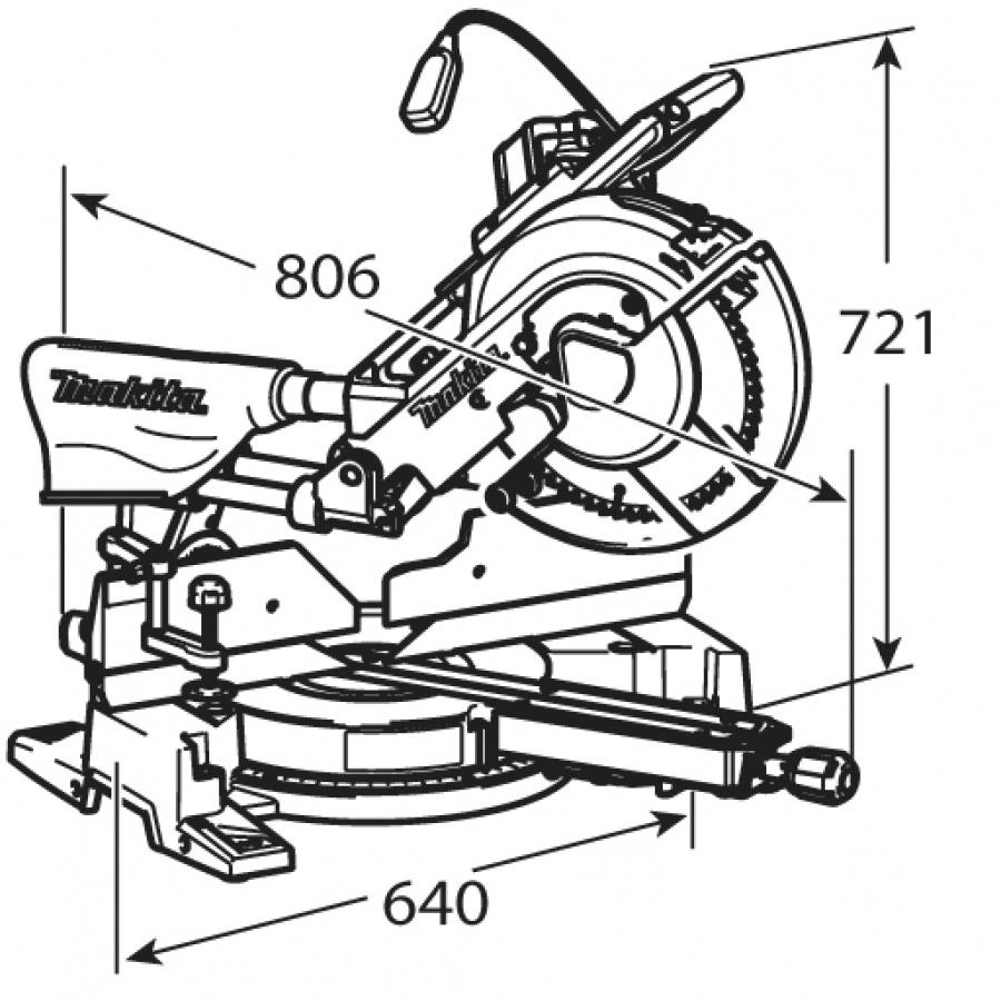 Disegno Sega da banco radiale 1650w Makita LS1216F mm. 305