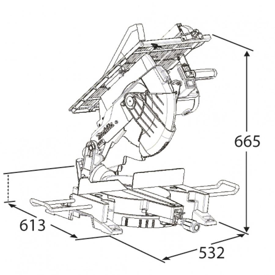 Disegno Sega da banco con pianetto e illuminazione 1650w Makita LH1200FL mm. 305
