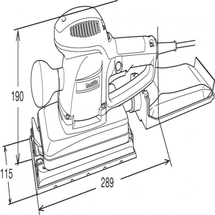 Disegno Levigatrice orbitale 330w Makita BO4900V mm. 115x229