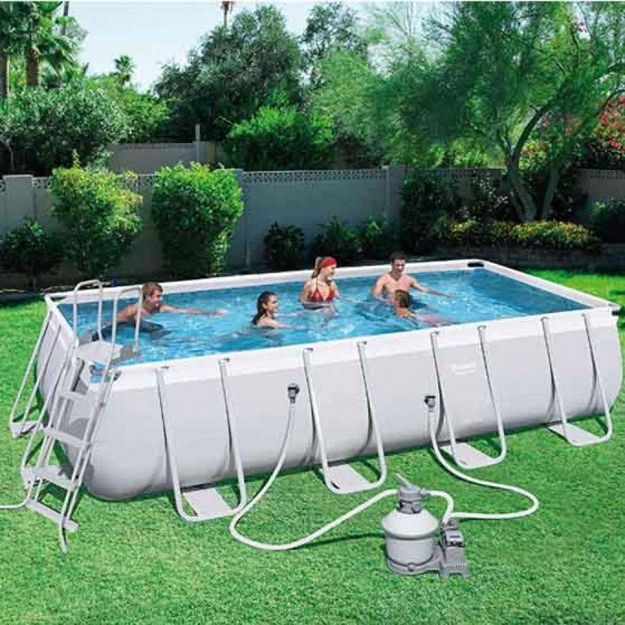 Bestway set piscina power steel rettangolare con filtro 56466 - dettaglio 2