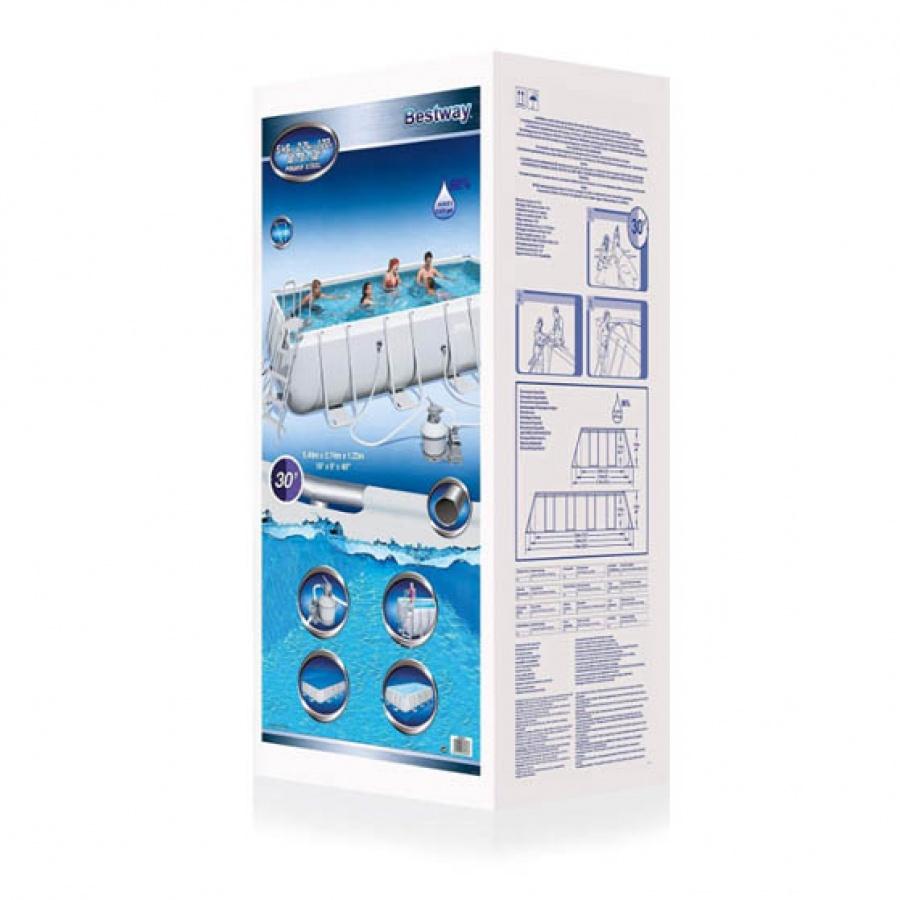 Bestway set piscina power steel rettangolare con filtro 56466 - dettaglio 4