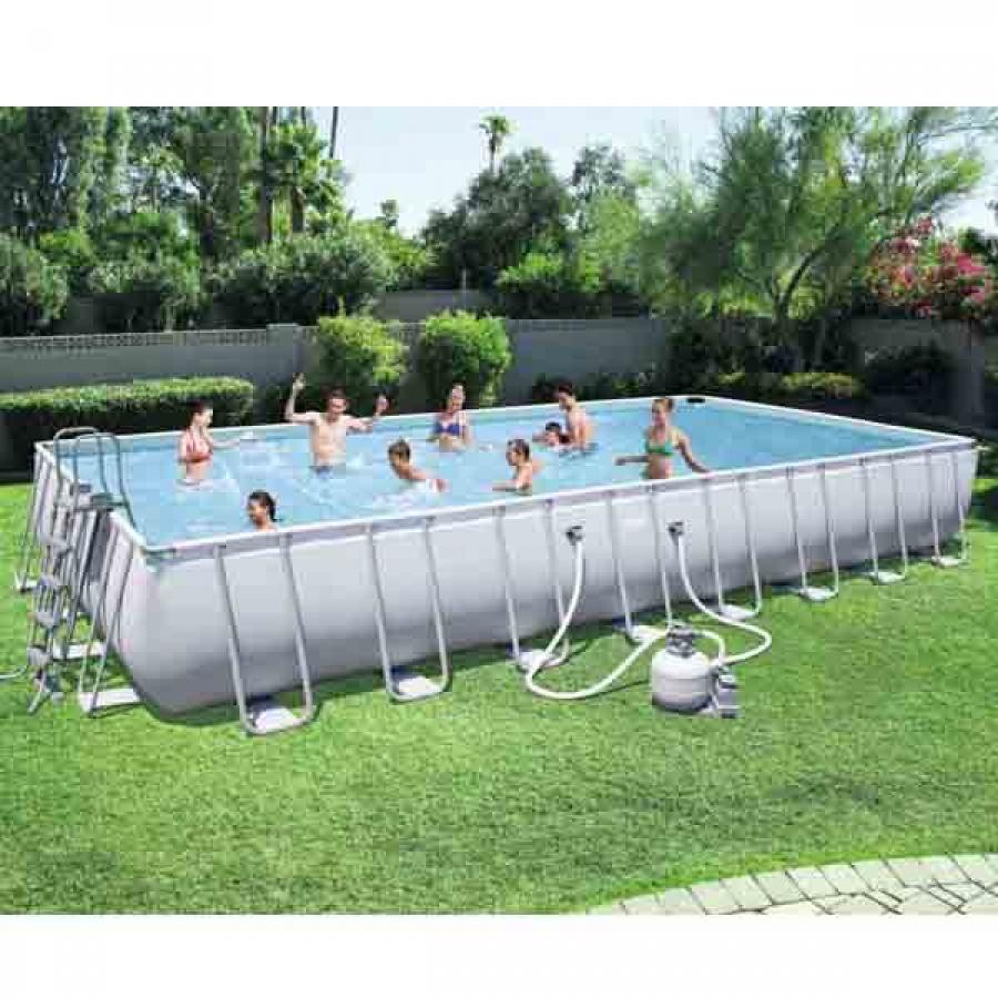 Bestway set piscina power steel rettangolare con filtro 56623 - dettaglio 2