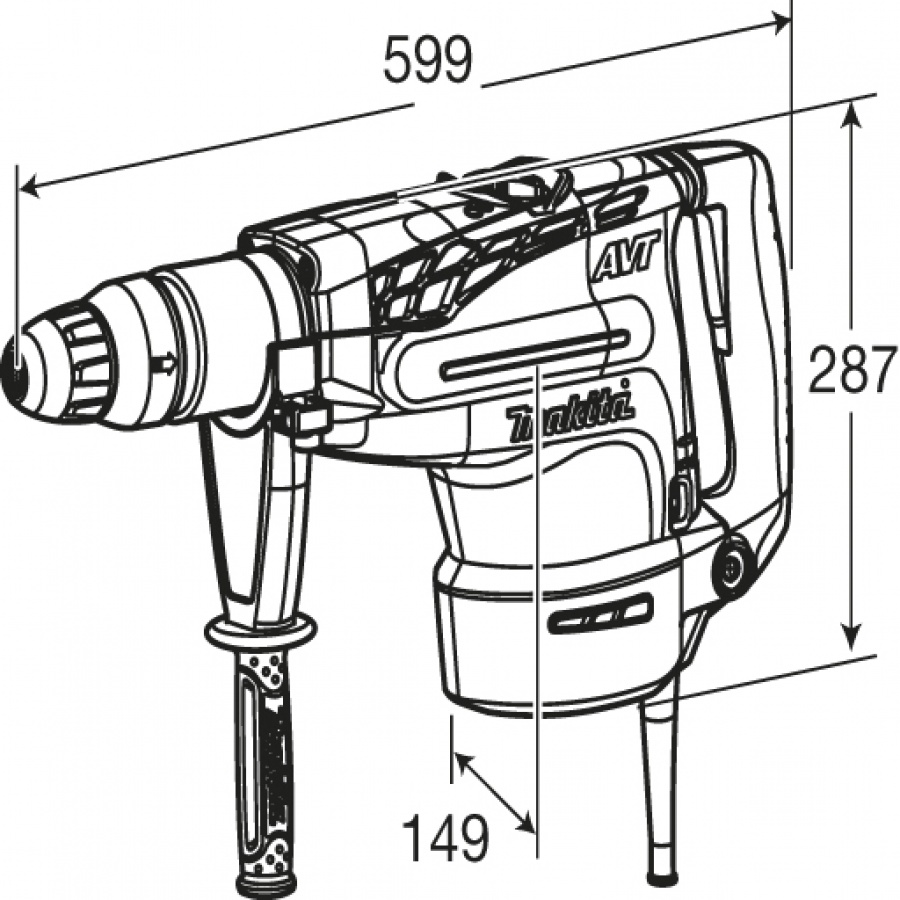 Disegno Martello Demolitore Rotativo Makita HR5211C 1500W mm. 52