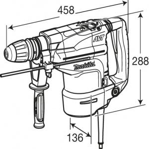 Disegno Martello Demolitore Rotativo Makita HR4511C 1350W mm. 45