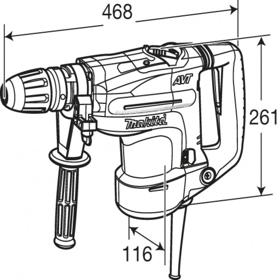 Disegno Martello Demolitore Rotativo 1100W Makita HR4011C mm. 40