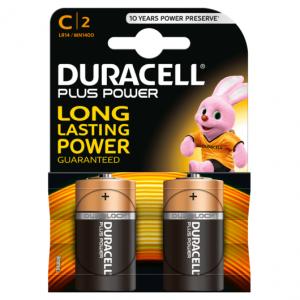Duracell Mezza Torcia C Batterie Alcaline Plus Power Pz 2 - LR14/MN1400