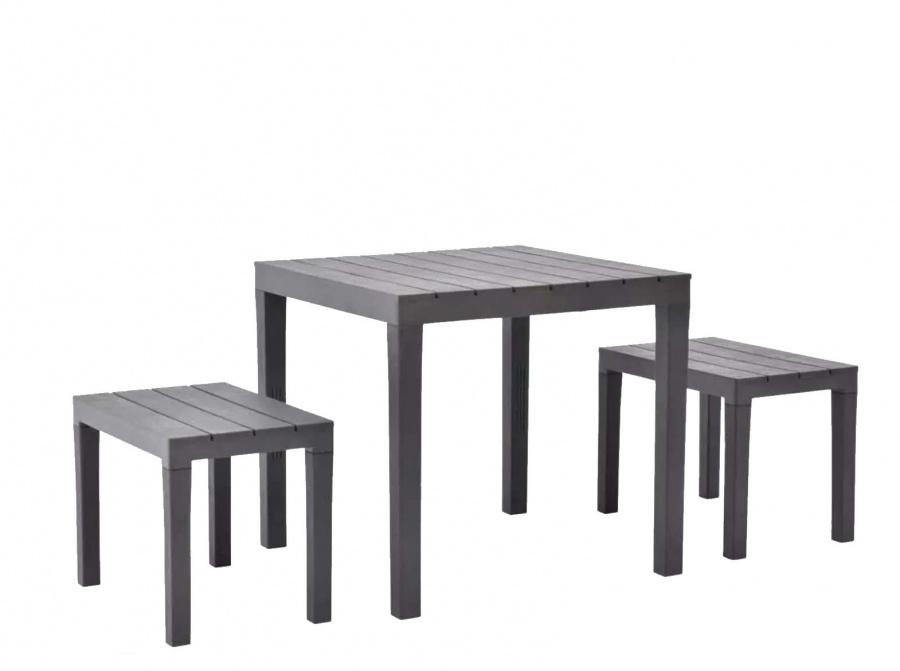 Progarden papua set panche e tavolo quadrato con effetto doghe - dettaglio 1