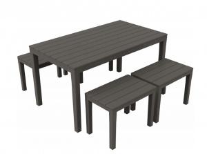 Progarden samoa set panche e tavolo rettangolare con effetto doghe - dettaglio 1
