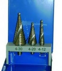 Set 3 Svasatori a gradino per acciaio Inox Makita art. P-70029  mm. 4-30 , 4-20 , 4-12