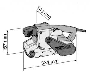 Disegno Levigatrice a nastro 1010W Makita 9404X mm. 100x610 con Base di Appoggio