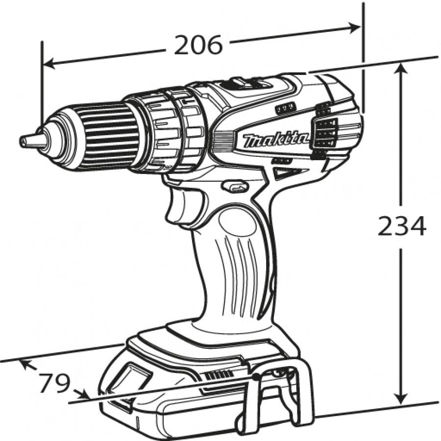 Disegno Trapano Avvitatore a perrcussione Makita art. DHP456RFE ( Ex BHP456RFE) 18V 3,0Ah ( FINO ESAURIMENTO SCORTE)