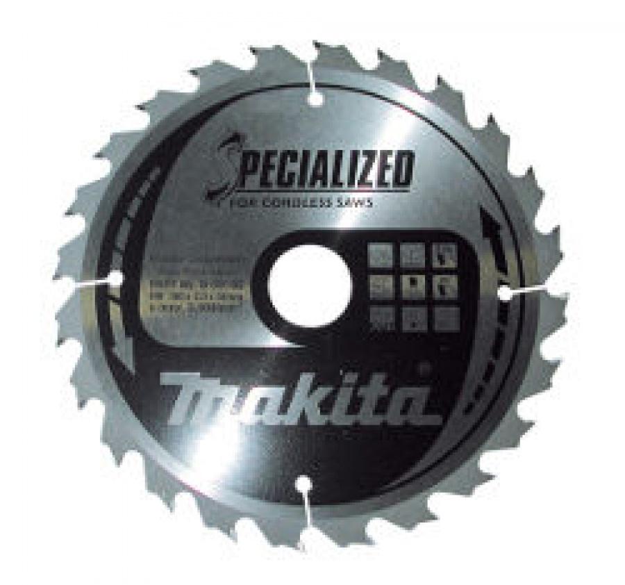 Lama Specialized Taglio Legno per Seghe Circolari a Batteria Makita art. B-09173 Tipo BBS16524E F. 20 N. Denti 24  D. 165X20X24Z