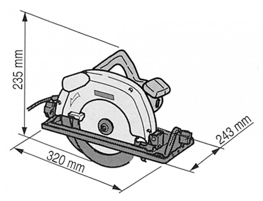 Disegno Sega circolare 1200W Makita 5704R mm. 190