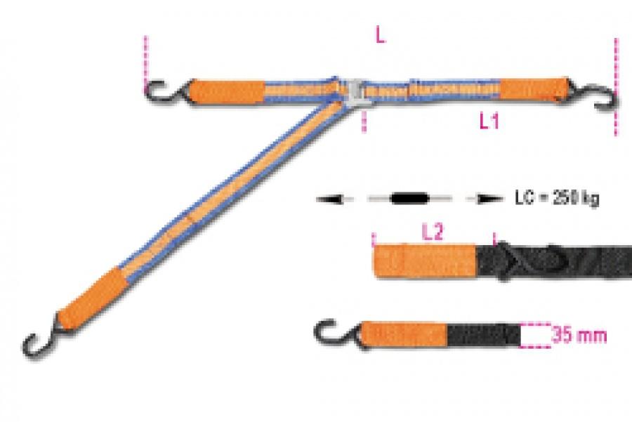Sistema di Legatura ad Anello con Cricchetto, 3 Ganci e Asole Robur 8188FG3 mt. 3,5