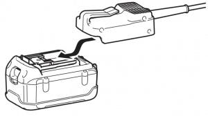 Dettaglio batteria abbacchiatore Makita BHL360