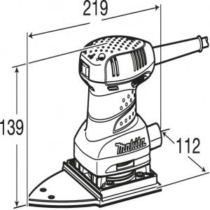 Disegno Levigatrice orbitale delta 200W Makita BO4565