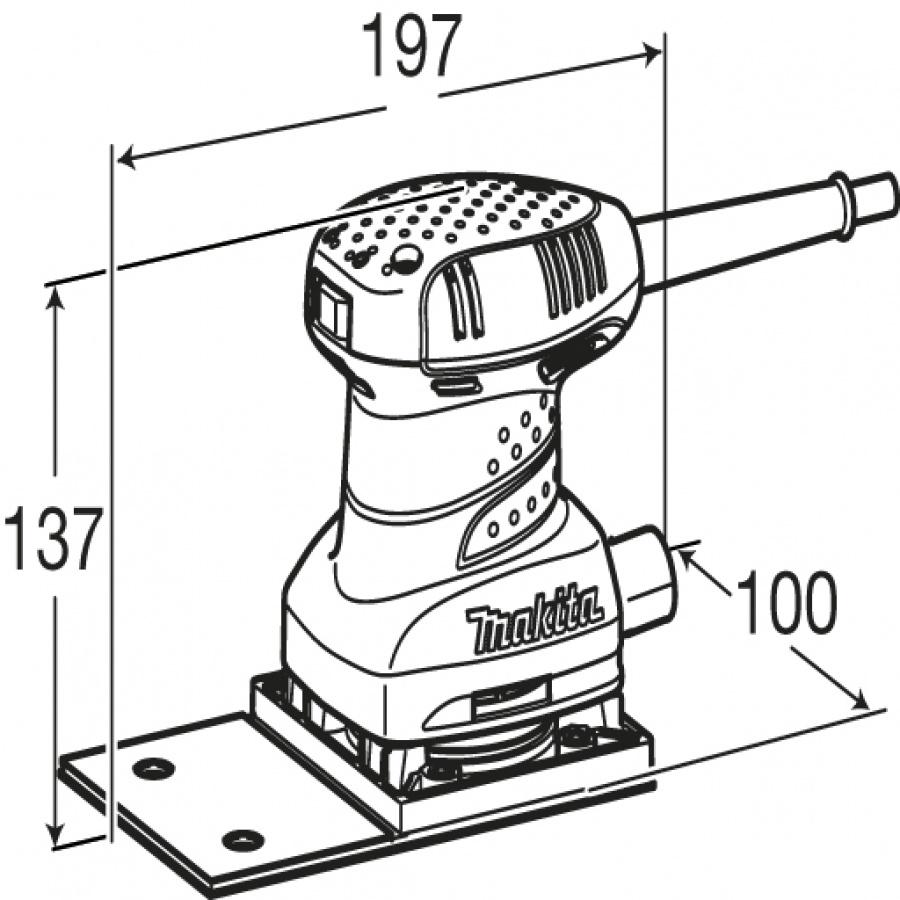 Disegno Levigatrice orbitale 200W Makita BO4566 mm. 100x164