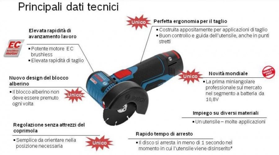 76 mm Bosch Professional Batteria della Smerigliatrice Angolare GWS 12/V 76/ 2 608 623 011 Disco per Tagliare per Smerigliatrice