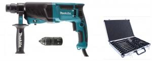 Set tassellatore Makita HR2630TX12 con set scalpelli e punte - hr2630tx12